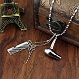 Sumanee Hair Dryer/Scissor/Comb Dangle Pendant Necklace Hair Stylist Jewelry Gifts