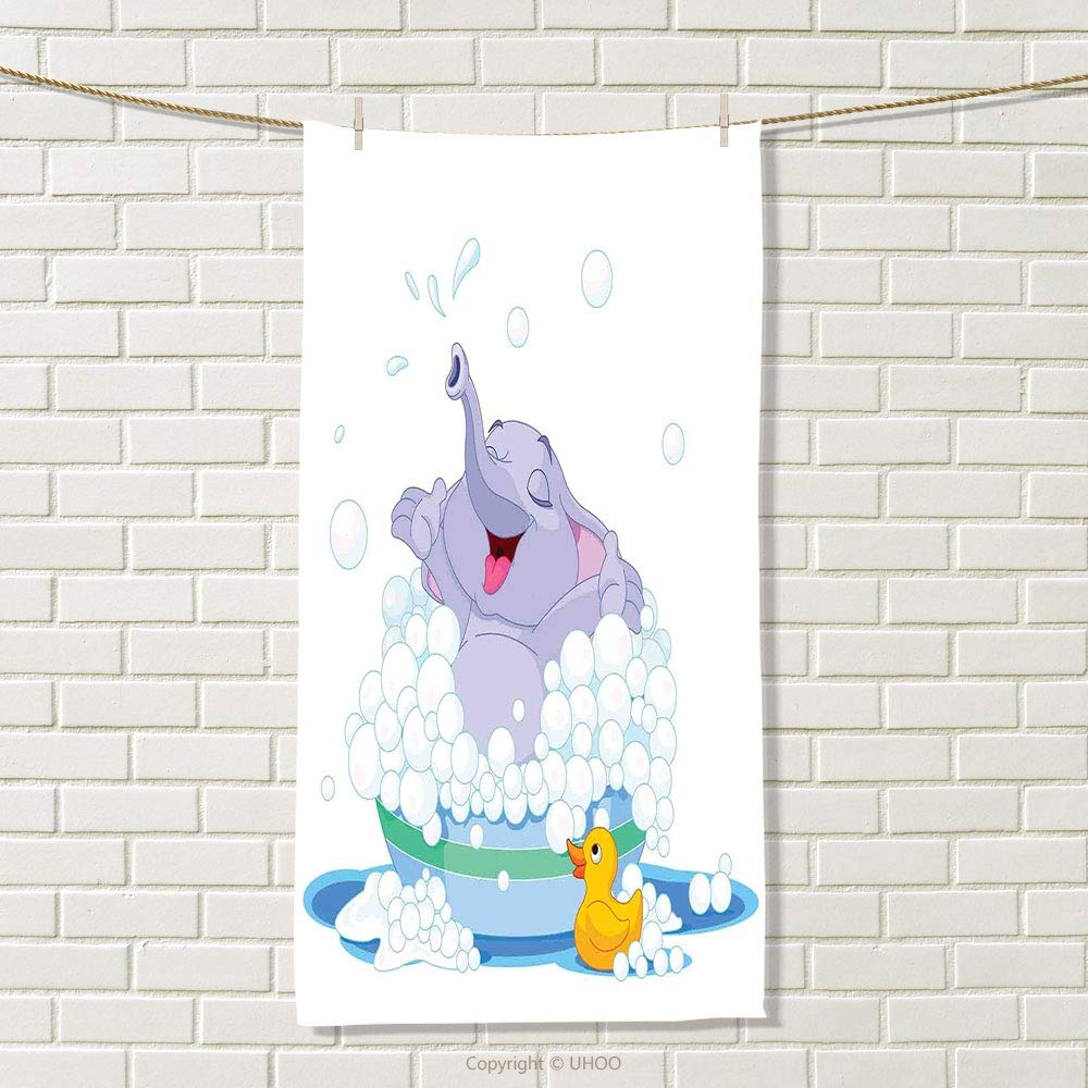 smallbeefly Nursery Sports Towel Elephant Takes Bubble Bath in Basin with Duck Water Games Wild Animals Theme Print Absorbent Towel Multicolor Size: W 35.5'' x L 26''