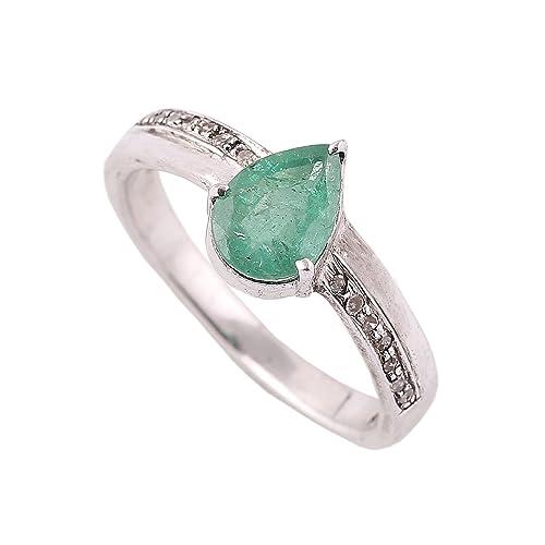 neerupam Collection 925 plata de ley Natural (Panna piedra esmeralda anillo) Esmeralda Diamante Anillo de compromiso para las niñas: Amazon.es: Joyería