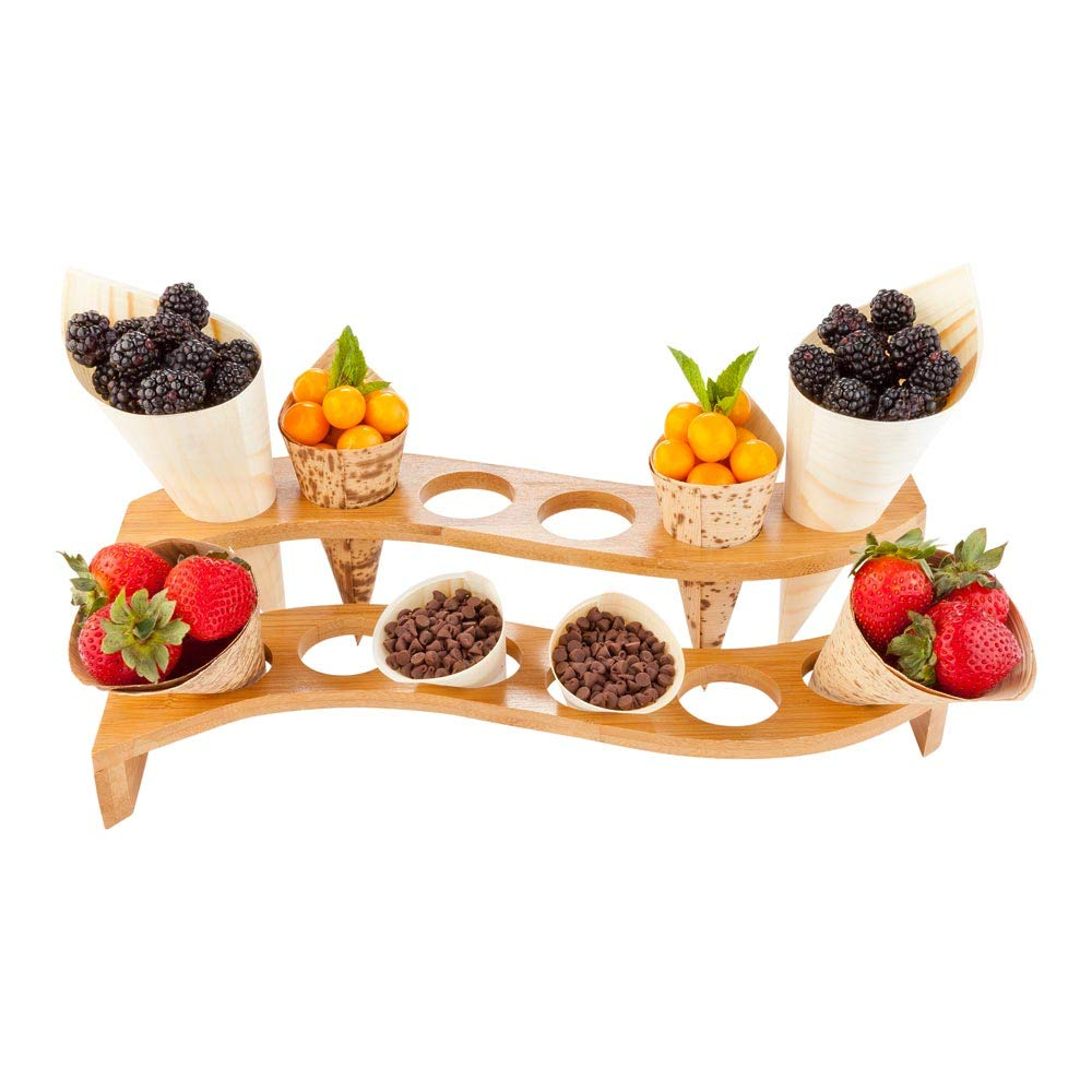 Curved Multi Level Food Cone and Sushi Hand Roll Display Stand: Perfect for Restaurants, Catered Events, and Buffets - Holds 12 Cones - Made from Organic Bamboo - 1ct Box - Restaurantware by Restaurantware