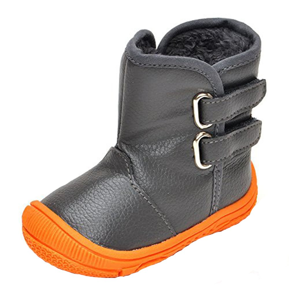 Enteer Infant Baby Boys' Soft Rubber Sole Anti-Slip Warm Winter Prewalker Leather Toddler Boots