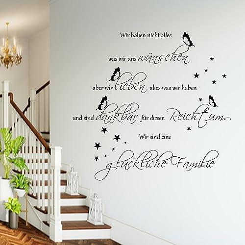 WANDTATTOO HM~AA201 Spruch Wir Sind Eine Glückliche Familie Wanddekoration  Wohnzimmer Flur Farbe./
