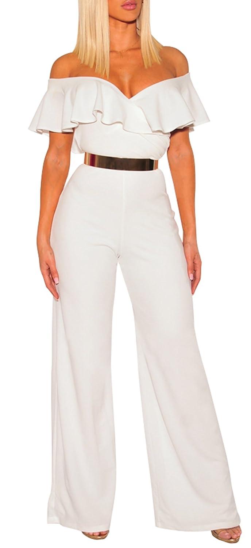 c65f2b8fb701 Amazon.com  PRETTYGARDEN Women s Off Shoulder Ruffle Romper Sexy Bodycon  Wide Leg Jumpsuit Long Pants (White