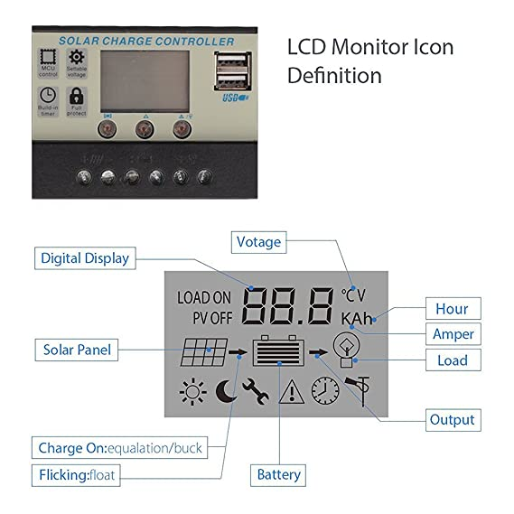 TiooDre 20A 12V//24V Solar Charge Controller with LCD Display Auto Regulator Timer Solar Panel Battery Lamp LED Lighting Overload Protection