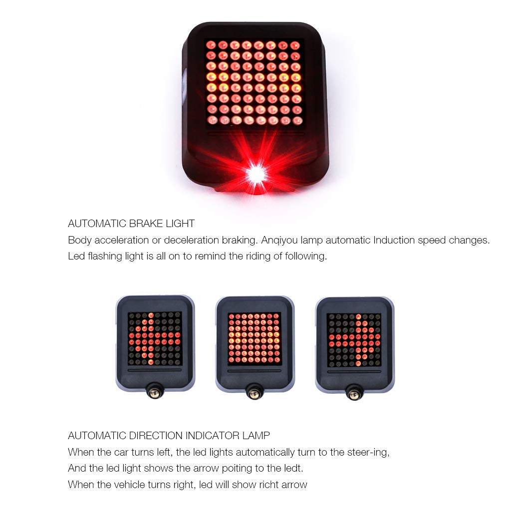 Mumuyou Usb Rechargeable Bike Tail Light 80 Lumens 64 Led Bicycle Flashing Turn Signal Lights With Intelligent Sensor Steering Brake Safety