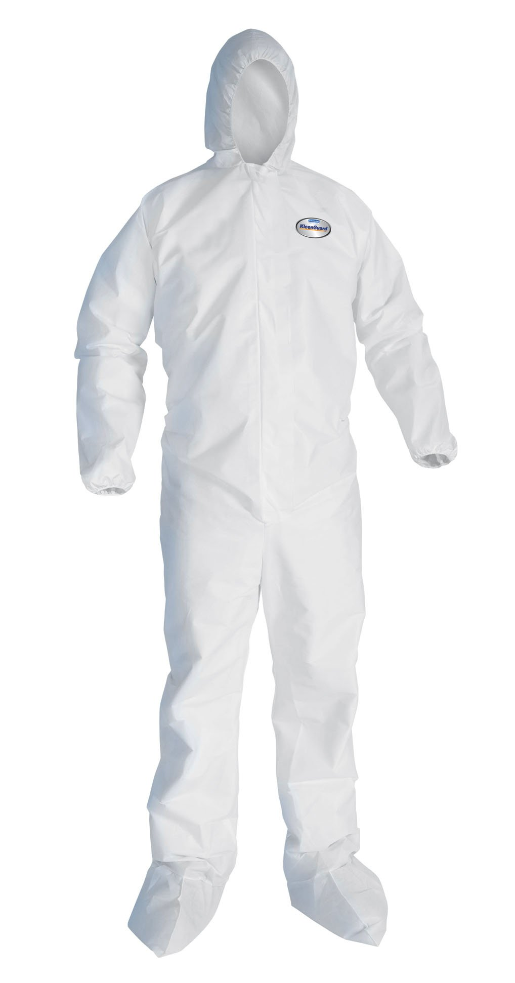 Kimberly-Clark KleenGuard A10 Polypropylene Light Duty Disposable Coverall with Hood and Boots, Elastic Wrist, White, Size L (Case of 25)