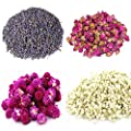 TooGet Flower Petals and Buds Includes Lavender, Rose, Gomphrena globosa, Jasmine, Green Tea Bulk Flower to Make Botanical Oil, Perfect for All Kinds of Crafts