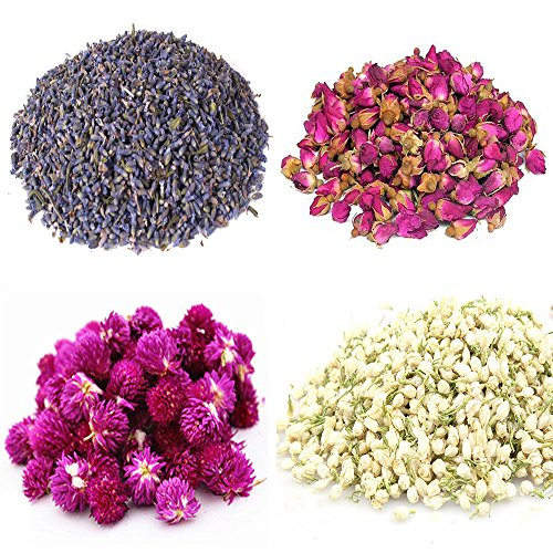 TooGet Flower Petals and Buds Includes Lavender, Rose, Gomphrena globosa, Jasmine, Green Tea Bulk Flower to Make Botanical Oil, Perfect for All Kinds of Crafts (Dried Flower Buds)