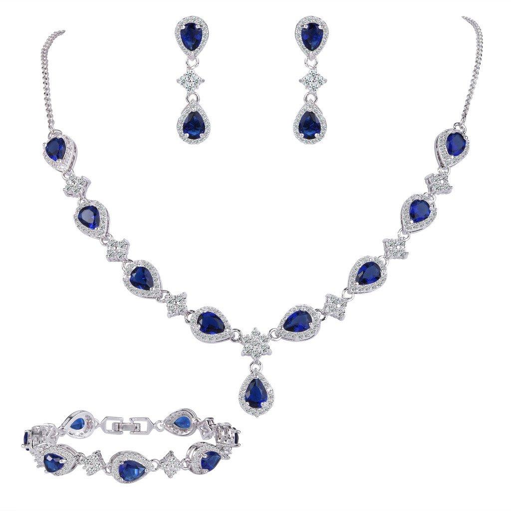 EleQueen Women's Silver-tone Cubic Zirconia Teardrop Flower Bridal V-Necklace Set Tennis Bracelet Dangle Earrings Sapphire Color