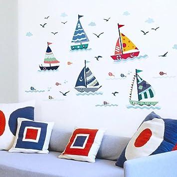 WandSticker4U  Wandtattoo U0026quot;Segelboote Setu0026quot; Bunt | Effektbild:  175X70cm | Ozean Meer