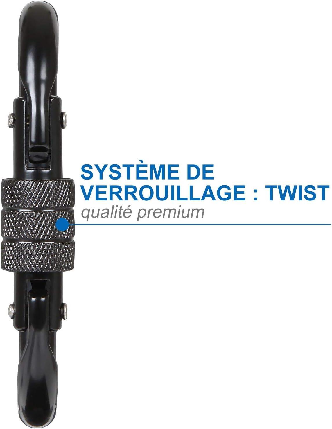 Carabiner Oval Steel avec Bouchon /à Vis Mousqueton Militaire Noir Charge de 20 KN ASelected Lot de 5 Mousqueton INOX Escalade