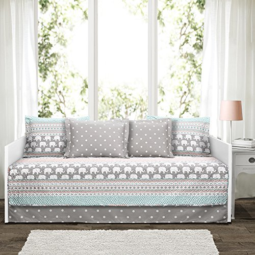 "Lush Decor Elephant Stripe 6 Piece Daybed Cover Bedding Set Includes Bed Skirt, Pillow Shams and Cases 75"" X 39"", Turquoise and Pink"