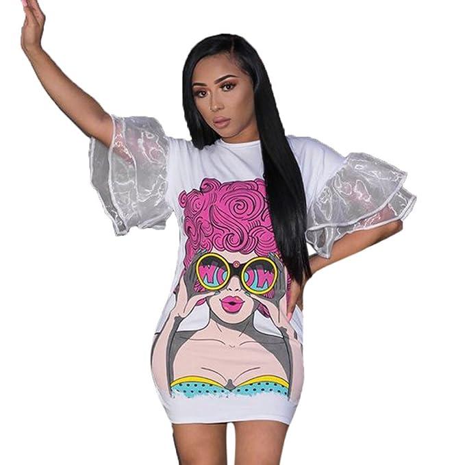 fdc989a6c3b3 Kleider , Frashing Frauen Europäische und amerikanische Frauen Spitzen  Ärmel Druck Kleid Round Neck Lace Speaker Sleeve Print Cartoon Print Dress  Loose ...