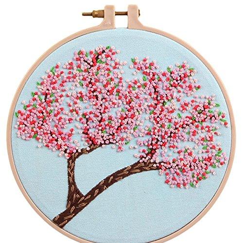 Floral Needlework Kit - C-Pioneer 1 Set Floral Silk Ribbon Embroidery Kit DIY Decorative Painting Flowers Needlework Cross Stitch Sewing Craft Home Decor (B)