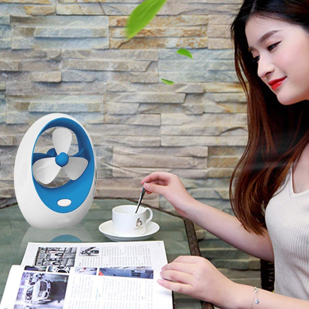 SOOTOP Mini Desktop Bladeless Handheld Fans Personal Portable Adjustable Air Flow Cooling Cool Fan Low Noise Rechargeable Desktop Battery Operated Cool Air for Indoor Outdoor Office Household