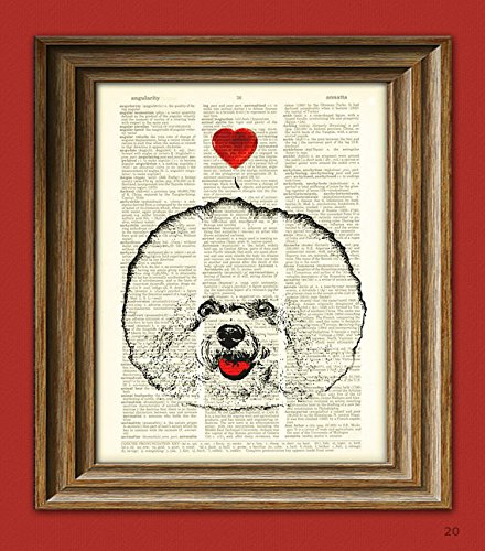 Bichon Frise Dog with Heart Valentine's Day illustration upcycled dictionary page book