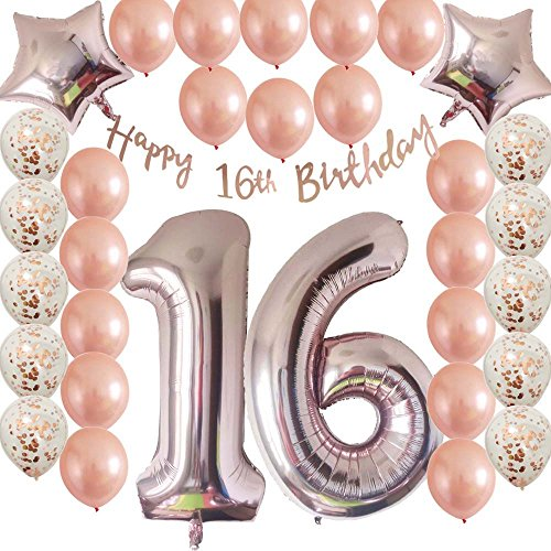 Cheeringup Sweet16th Birthday Decorations Party Supplies Set-Rose Gold Confetti Latex Balloons-Happy 16th Banner as Gift for Her Girls,Women,Men Table Decorations Favors,Photo Props|Mylar Star by Cheeringup