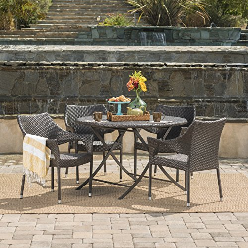 Outdoor Table Stacking - Kara Outdoor 5 Piece Multi-Brown Wicker Dining Set with Foldable Table and Stacking Chairs