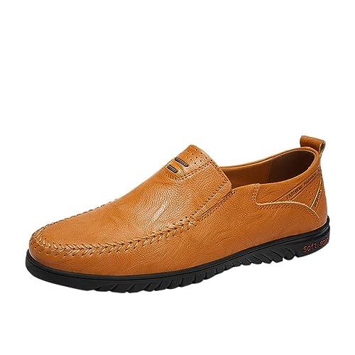 Amazon.com: Bralonees Zapatillas de hombre de cuero ...