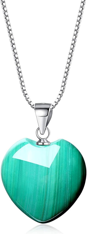 COAI Collar para Mujer de Plata 925 con Colgante Corazon de Piedras Naturales