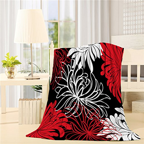 - Bed Blanket 59 X 79 inch Dahlia Flower pattern white black red Comfort soft Air Conditioning Throw Blanket for Bedroom Living Rooms Sofa,oversized Travel Throw Cover