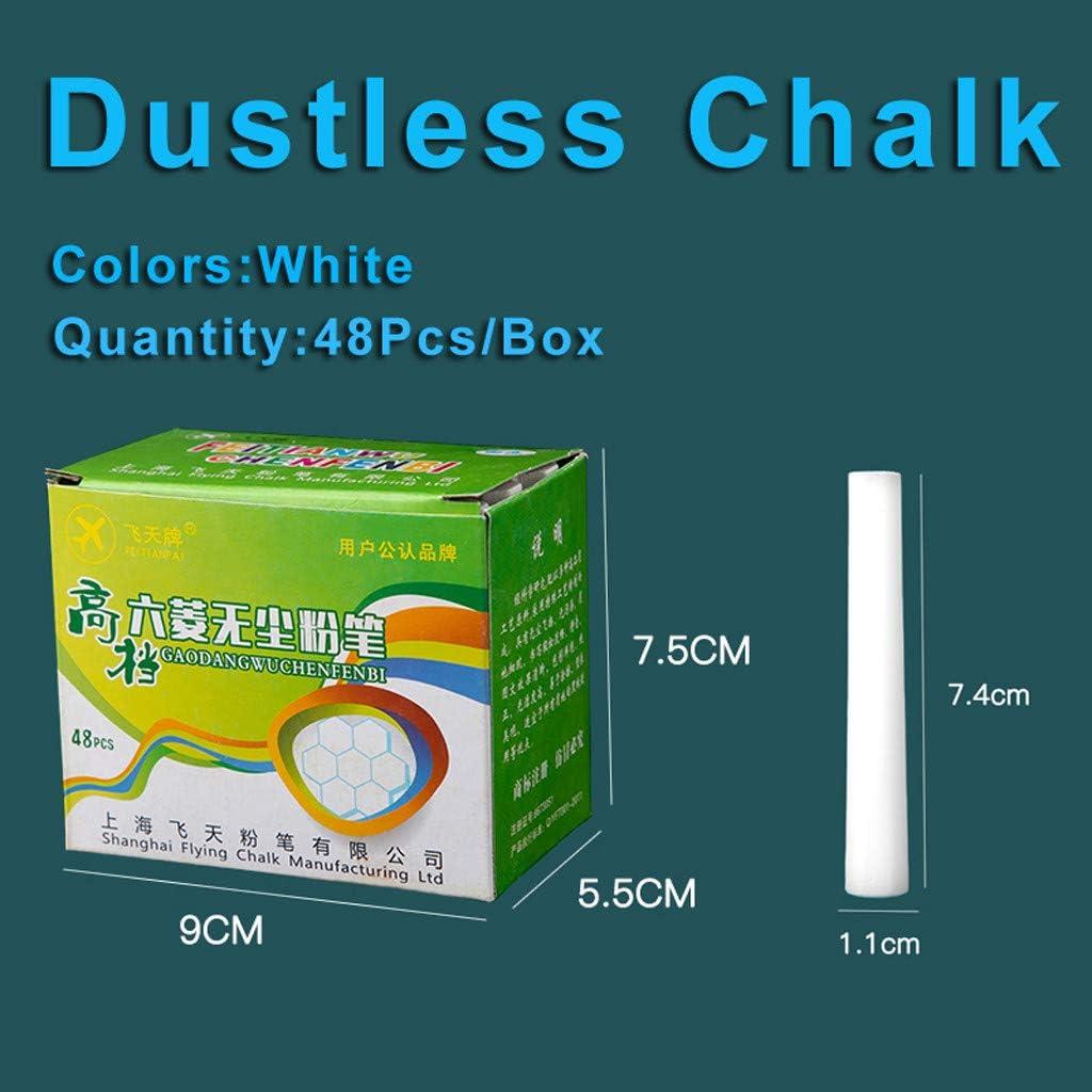 48 Pack Colourful Chalks Pavements Sticks Art Floor Dustless Chalks POPLY 48Pcs//Box Dustless Chalk Assorted and White
