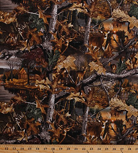 Advantage Camo Fabric (Cotton Camouflage Realtree Advantage Timber Deer Woods Cabin Lakeside Sunset Scene Leaves Leaf Landscape Camo Cotton Fabric Print by the Yard (10165))
