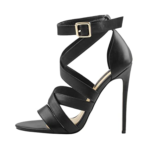 076fa7313a15c Onlymaker Womens Cross Strap Stiletto Open Toe Sandals Sexy High Heel Ankle  Strappy Dress Summer Shoes