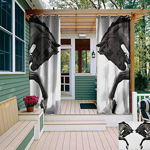 (leinuoyi Sculptures, Outdoor Curtain Pair, Twin Contrast Horse Heads Statue Image Vintage Style Abstract Art Antique Theme, for Patio W84 x L108 Inch Bronze)