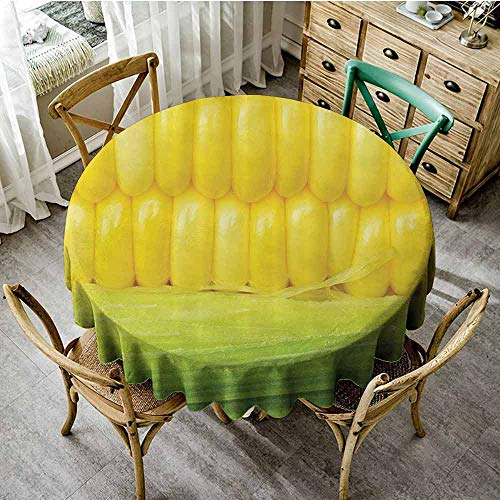 SEMZUXCVO Printed Round Tablecloth Yellow Decor Prevent Scratching The Table Corn Cob Between Green Leaves Delicious Breakfast Natural Meal Vegetable Theme Art D71 Yellow Green (Deer Corn On The Cob For Sale)