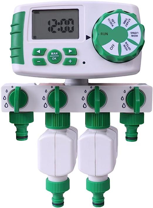 Aqualin Programador de riego 4 Zonas Controlador de Temporizador de Agua en jardín con 2 válvulas solenoides: Amazon.es: Jardín