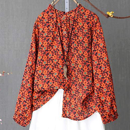 Chemisier Blouse Mode Manche Shirt Grande Taille Tops Longues Causal Sexy A Fleurs Imprim T Orange Amples Femme Chic 44ZWarR