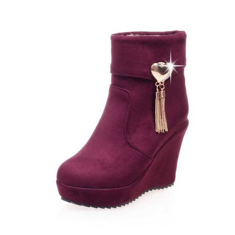 WeiPoot Women's Frosted Round Closed Toe Solid Low-top High-Heels Boots, Claret, 36