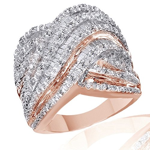 1CT Baguette & Round Natural Diamonds Engagement Wedding Ring in 925 Sterling Silver