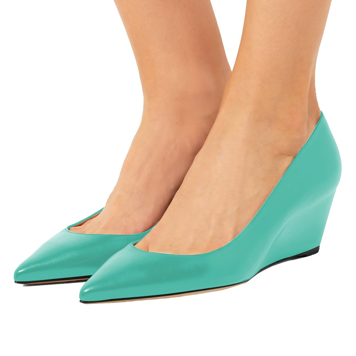 YDN Women Sexy Pointed Toe Hidden Low Heel Wedge Pumps Slip on Dress Shoes for Office Lady B07C2Y4Z58 5 B(M) US|Turquoise