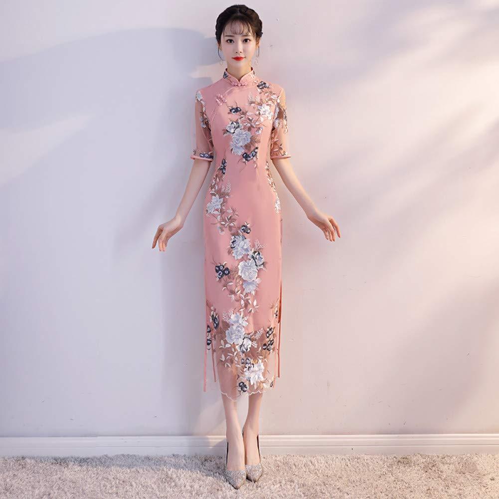 A5 XXL Qingxi Une Version améliorée de la Jeune Fille Cheongsam dans la Longue Section d'une Robe élégante et fraîche à col Bas