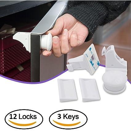 LONGFITE - Bloqueo magnético para armario de seguridad infantil, 12 cerraduras + 3 llaves,