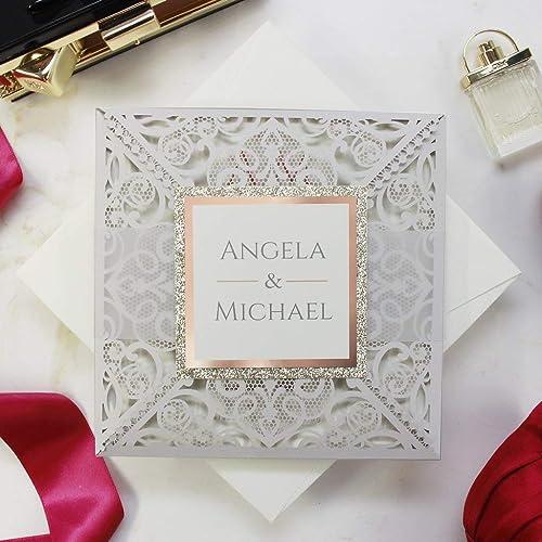 Partecipazioni Matrimonio Amazon.50 Carte Confezione Carta Con Busta Partecipazioni Matrimonio