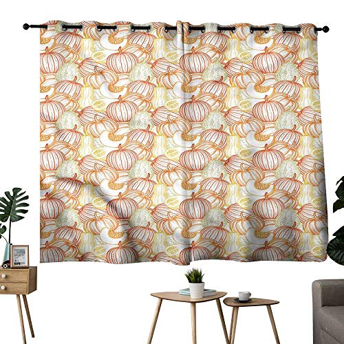 Thermal Insulated Drapes for Kitchen/Bedroom Pumpkin Butternut Squash Vegetables Durable W72 xL45 Suitable for Bedroom Living Room Study,etc