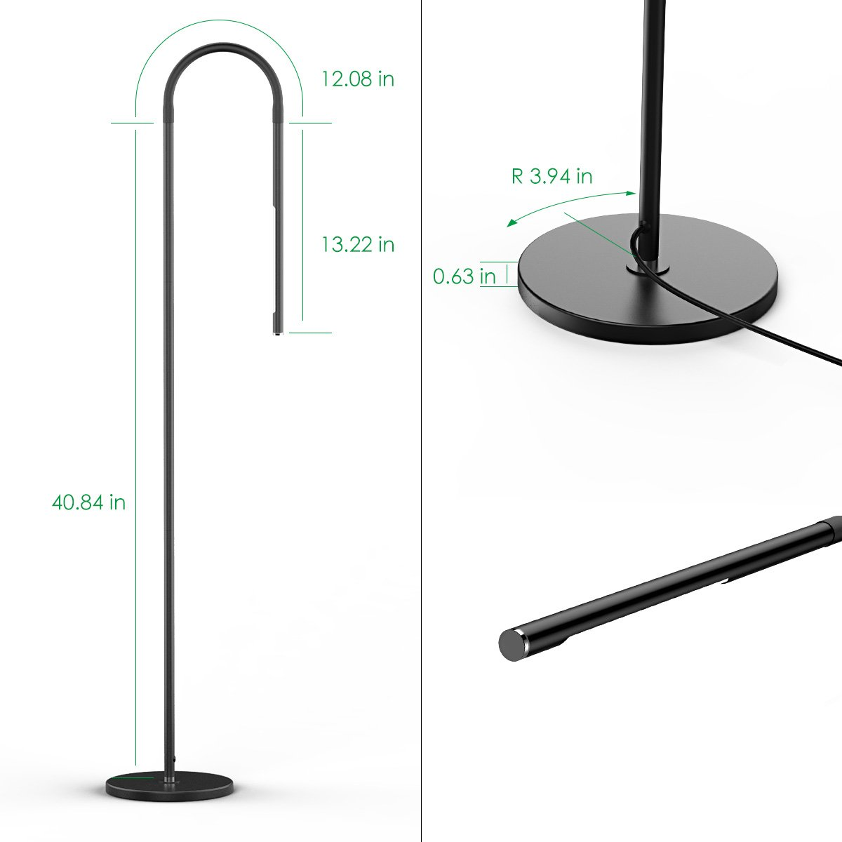 Joly Joy LED Modern Floor Lamps, Flexible Gooseneck Standing Reading Light W/Stable Base, 4 Color & 5 Brightness Dimmer, Touch & Remote Control, for Living Room, Chair, Couch, Office Task (Black) by Joly Joy (Image #9)