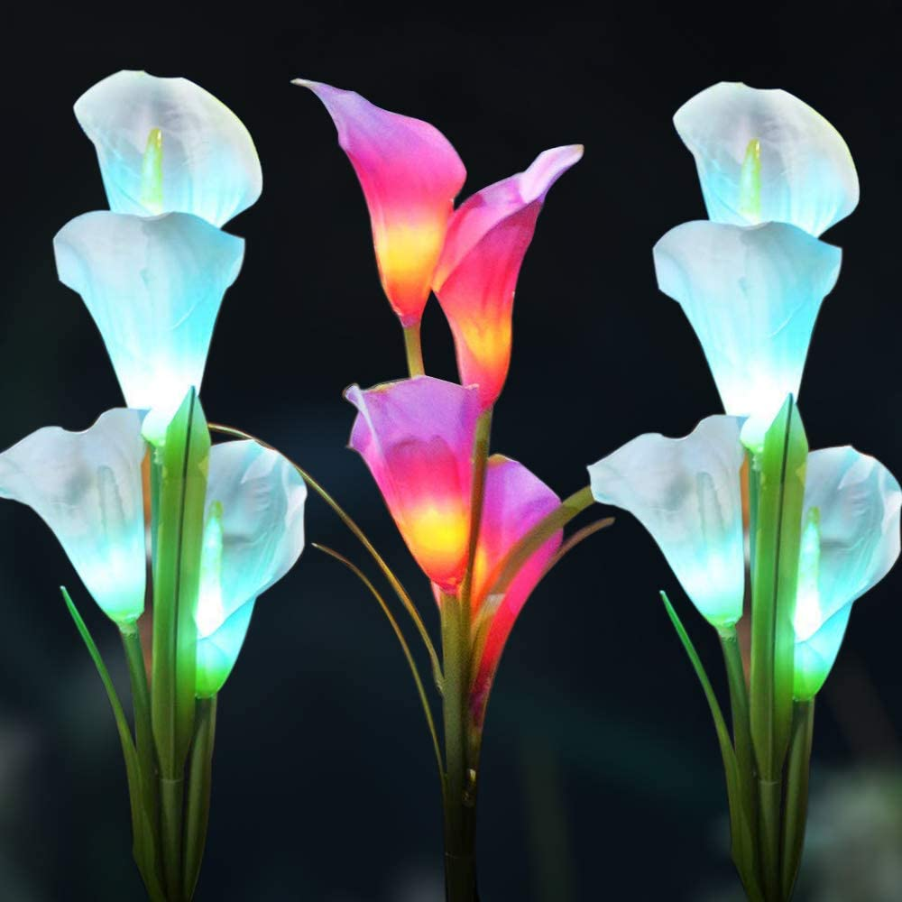 WOSPORTS Solar Lights Outdoor Garden Stake Flower Lights, Multi Color Changing LED Lily Solar Powered Lights for Patio, Lawn, Garden, Yard Decoration (Solar Lights Outdoor 3Pack)