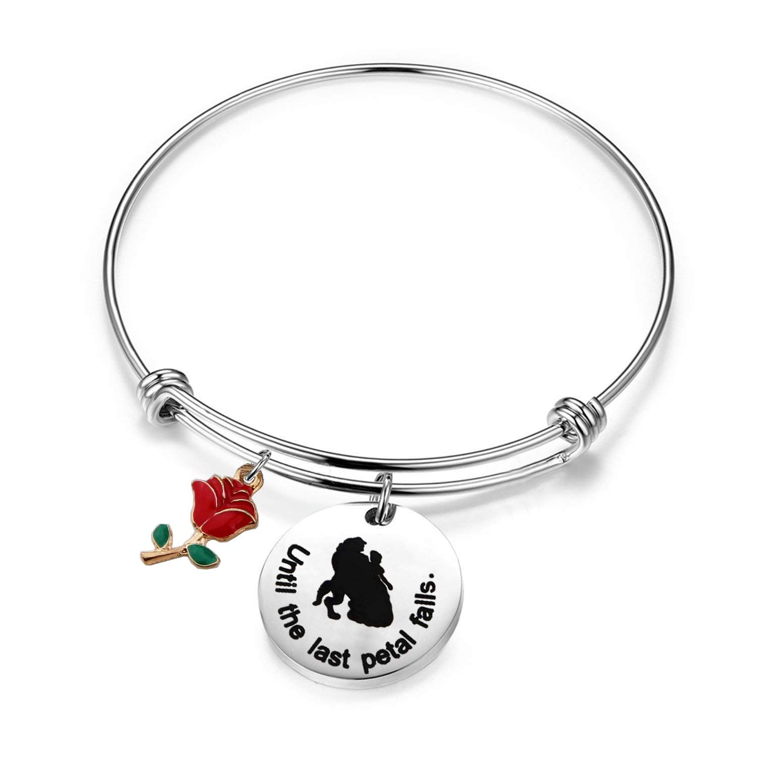 Beauty and The Beast Rose Charm Bracelet Until The Last Petal Falls Bangle KUIYAI