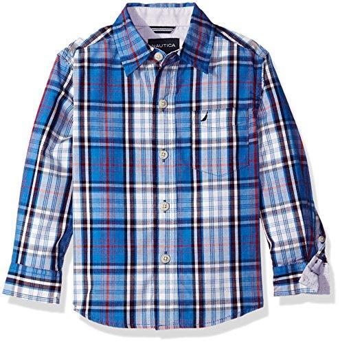 Nautica Little Boys Sea Mark Plaid Long Sleeve Woven Shirt, Medium Blue, 2T