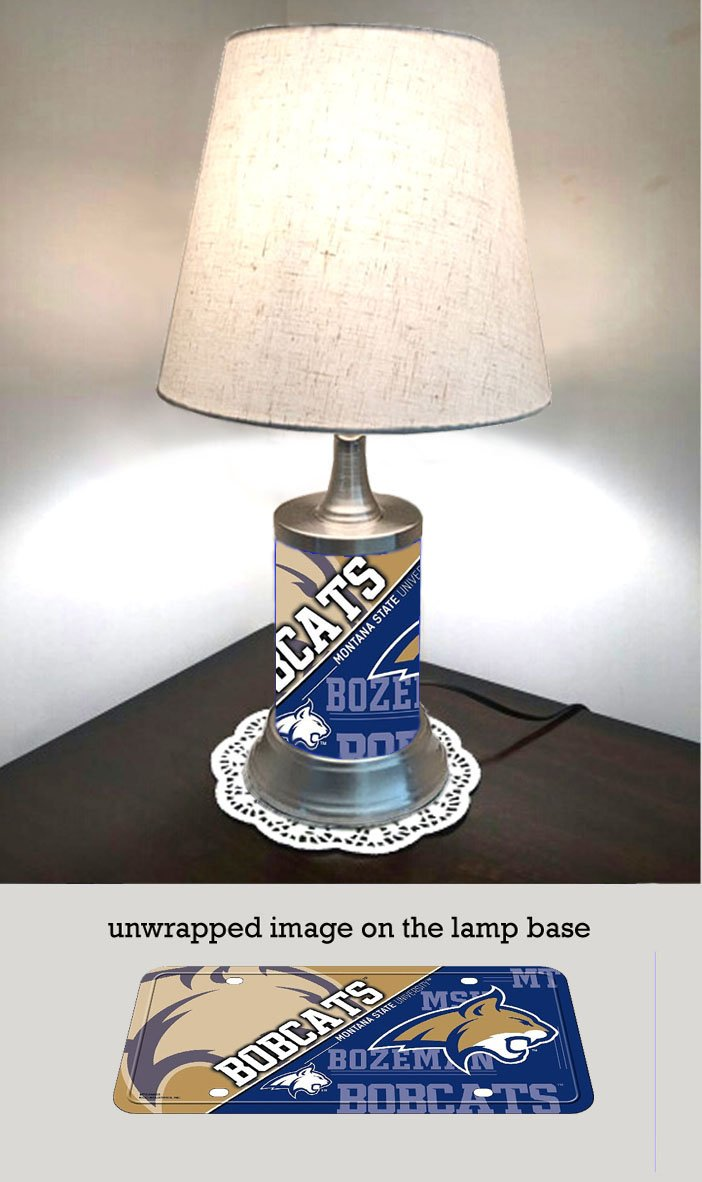 JS Table Lamp with Shade Montana State Bobcats Plate Rolled in on The lamp Base