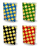 BOOK SOX Stretchable Book Cover: JUMBO EMOJI Value Pack of 4 Jackets Fit Most Hardcover Textbooks up to 9'' x 11''. Adhesive-Free Fabric School Book Protector. Easy to Apply. Wash & Re-Use