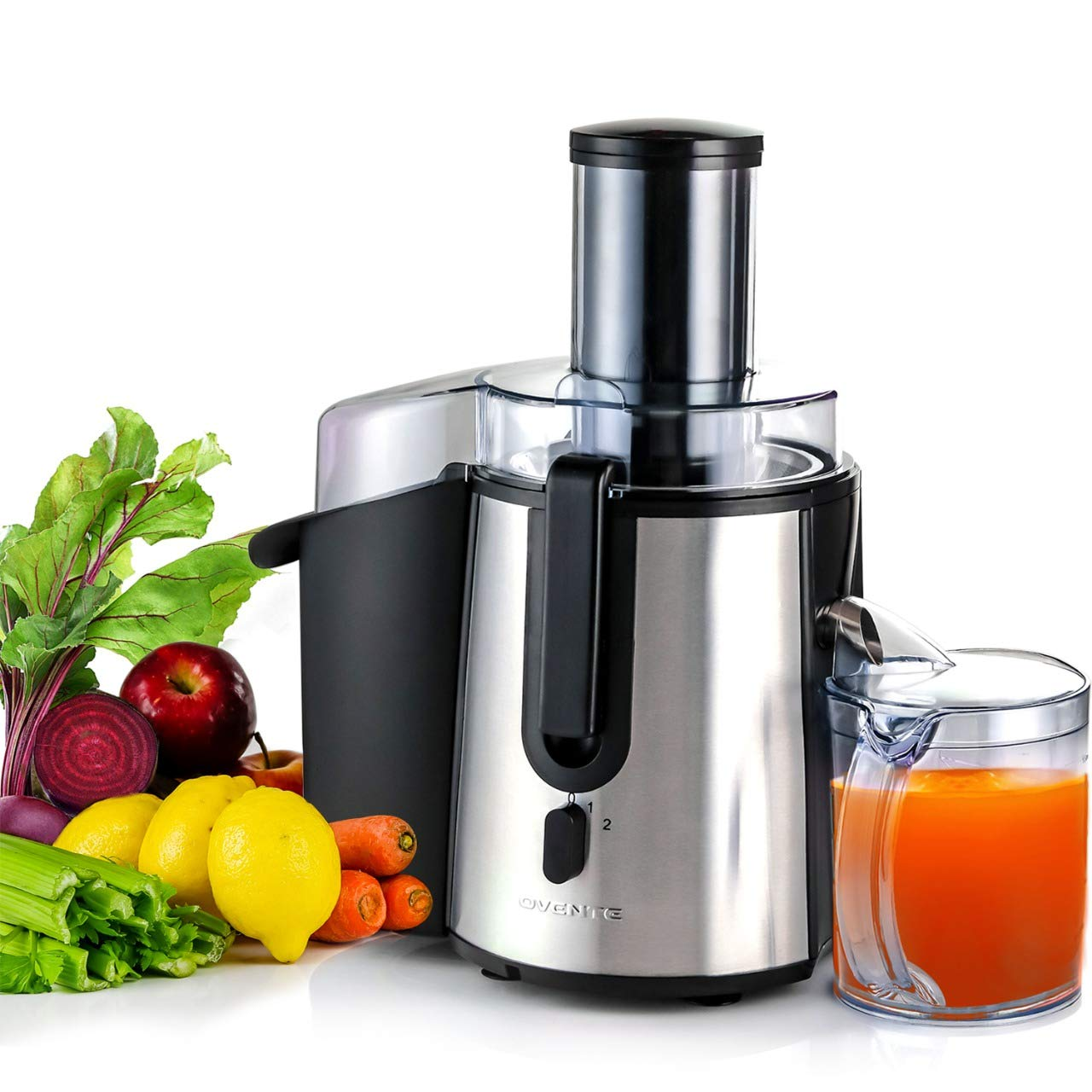 Ovente 1 JE7607BR Wide Mouth Juicer High Speed Juice Extractor for Fruits and Vegetables, 9.45 pounds, Black