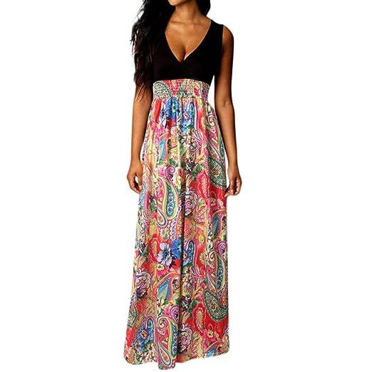 a4debf2255032 Fanteecy Women Summer Bohemian Floral Sleeveless V Neck Empire Waist ...
