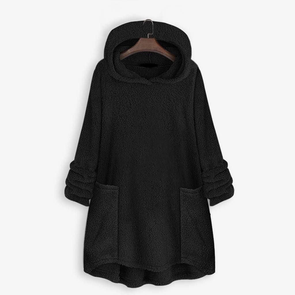 Womens Wool Hooded Coat Chaofanjiancai Winter Warm Jacket Long Sleeve Button Plush Tops Casual Loose Cardigan