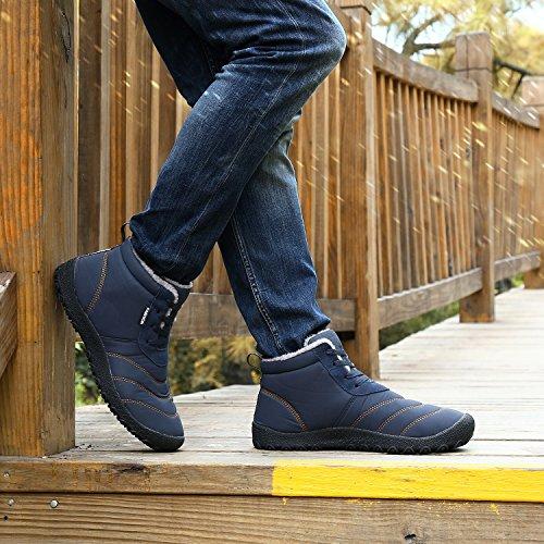 Chaussures Fourrure Fourrées Bottes Chaussures En 2 Pantoufles Chaud Au Anti Haut Hiver Imperméable Neige Fausse Glissement Coton Bleu Femmes Haut De Hommes dérapant Fermé xYZ40awqP