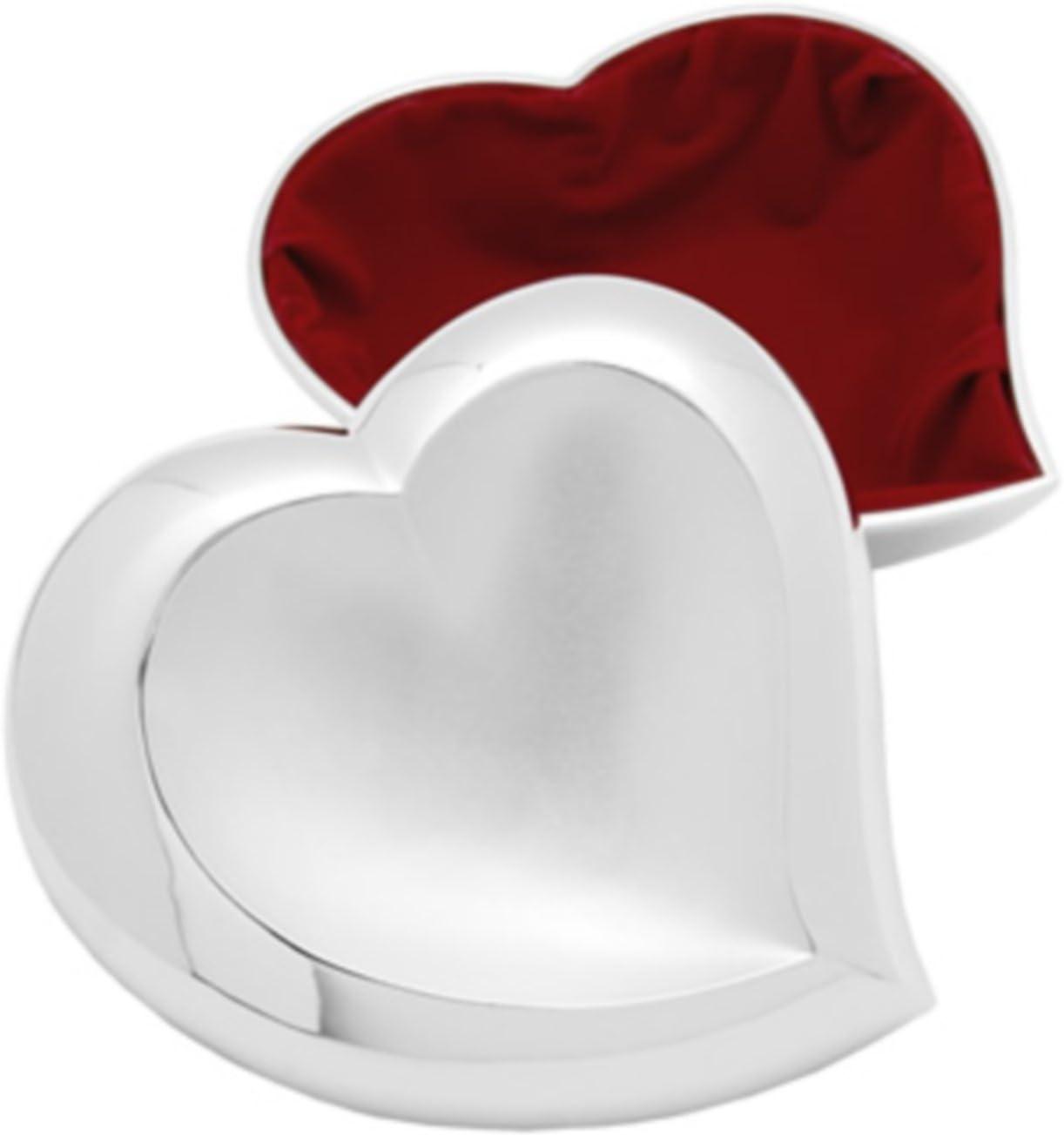 Silver Plated Type Heart Trinket With Red Velvet Inside.